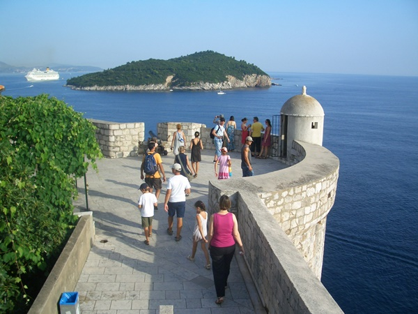 Walking the city walls in Dubrovnik