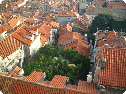 View of red city roofs from city walls
