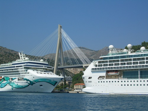 Cruise ships docked in the port of Dubrovnik