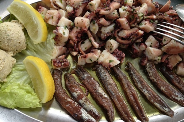 Octopus salad & anchovies in olive oil