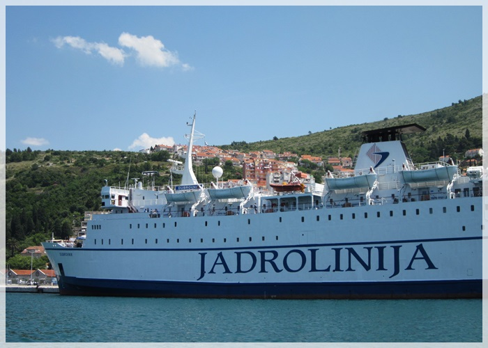 Jadrolinija ferry that runs between Dubrovnik and Bari