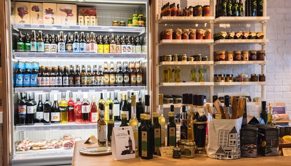 A selection of Croatian food products & olive oils & wines & beers