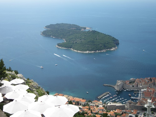 View of Lokrum from Mount Srdj