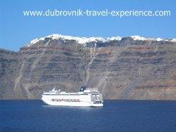 Cruise ship docked beneath Thira village